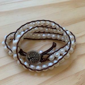 Fresh Water Pearl Leather Wrap Bracelet
